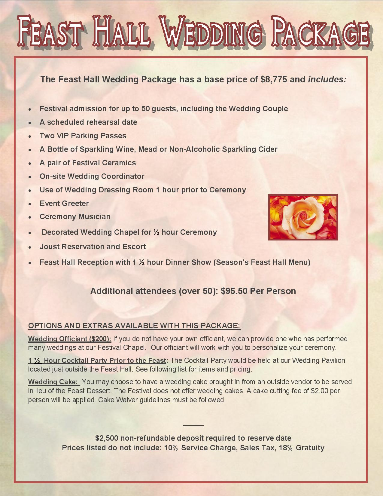 Feast Hall Wedding Package Snapshot