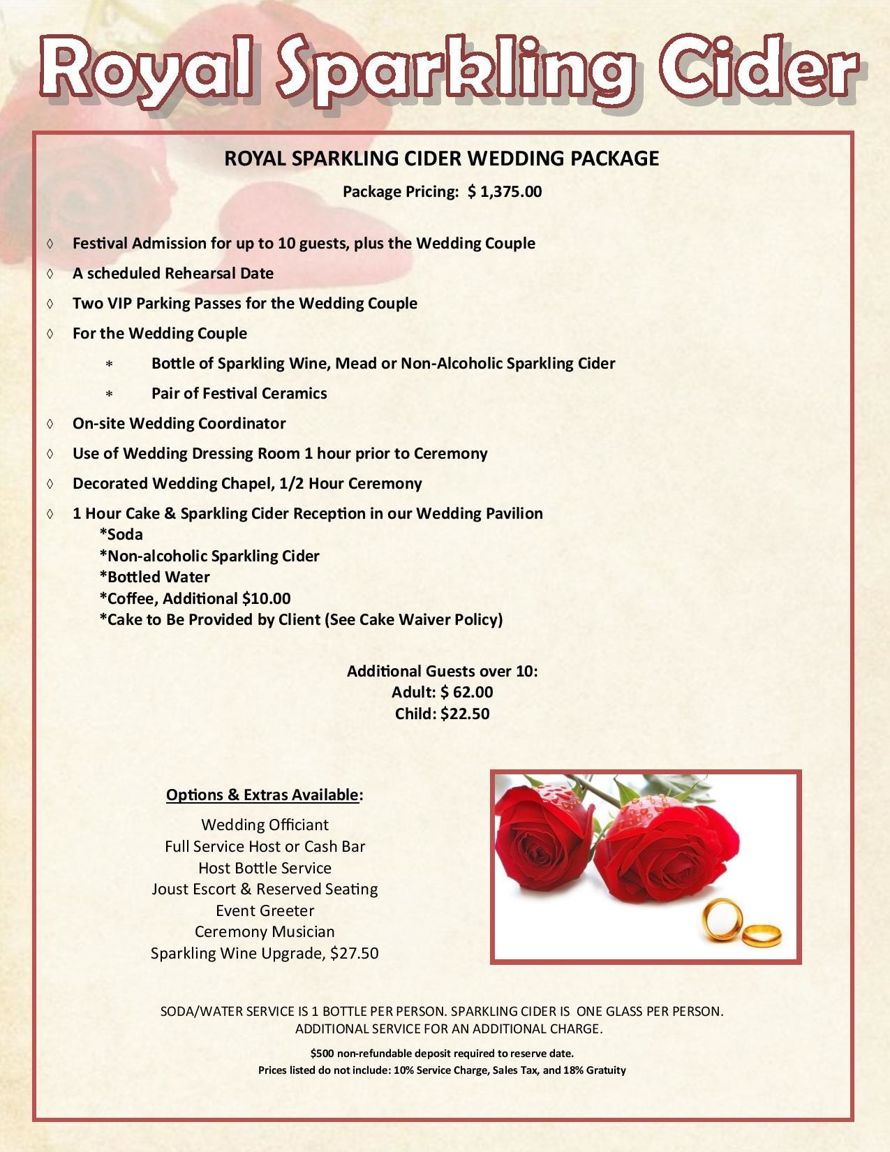2022 Royal Sparkling Cider Wedding Package