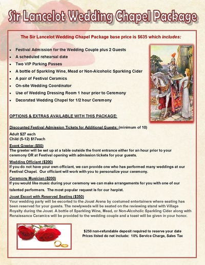 2022 Sir Lancelot Wedding Package